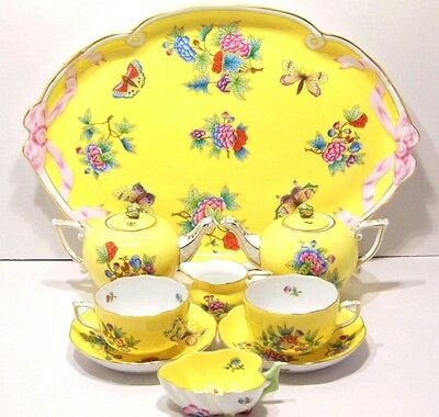 HEREND QUEEN VICTORIA YELLOW,TEA SET FOR TWO,BRAND NEW BOXED,RARE,9 pieces