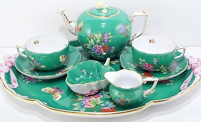 Herend Queen Victoria Green,tea Set For Two,brand New Boxed,extreme Rare