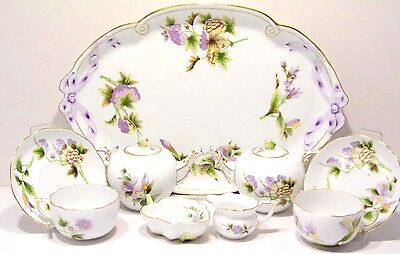 HEREND HEREND QUEEN VICTORIA ROYAL GARDEN,TEA SET FOR TWO, 11.pcs.with 2 TEAPOTS