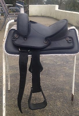 "western saddle PONY size seat 10 1/2"" Black synthetic faux sheepskin lined"
