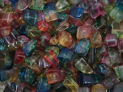 Crystal Glass Chunky Chips 100g Mix Colours Loose Jewellery Jewelry FREE POSTAGE