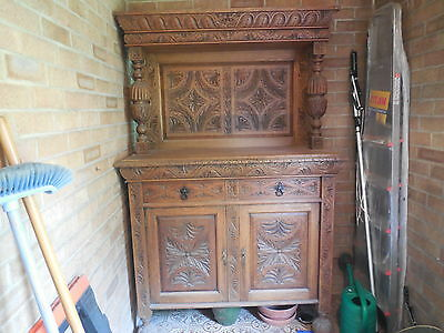 Gothic Style Oak Heavily Carved Cupboard Sideboard