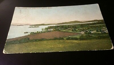 Old postcard the islands &luss ftom sttonr brae posted 1906