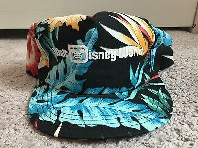 Vintage 80's 90's Walt Disney World Hawaiian Floral Flowers Snapback Hat Cap USA
