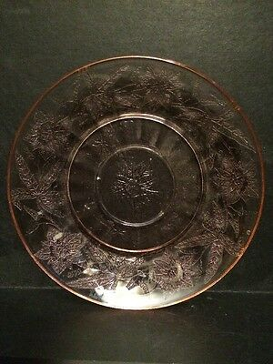 Jeanette Depression Glass Pink Saucer in the Poinsettia Design