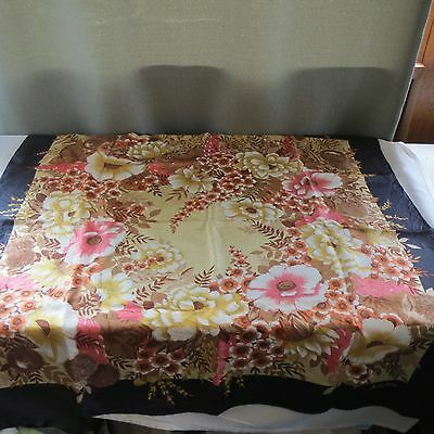 """Vintage Large Very Bold Floral Scarf by """"COUNTESS MARA""""  100% Silk Made In Italy"""