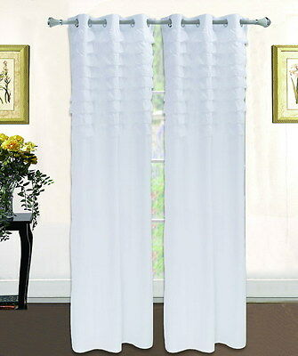 Solid White Ruffled Grommet Window Curtain Panels All Sizes - SET OF TWO (2)