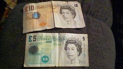 Circulated 5. Pound& 10 pound bank of england currency