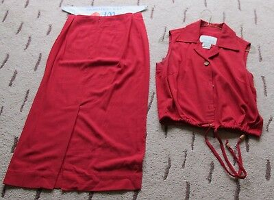 Women's Vintage Long Skirt and matching Top, Size 4 Petite - RED