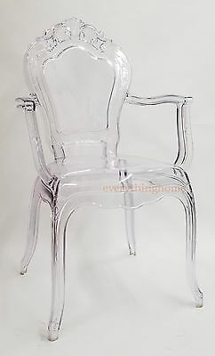 Clear Transparent Ghost Vanity Dining Arm Chair French Baroque Polycarbonate
