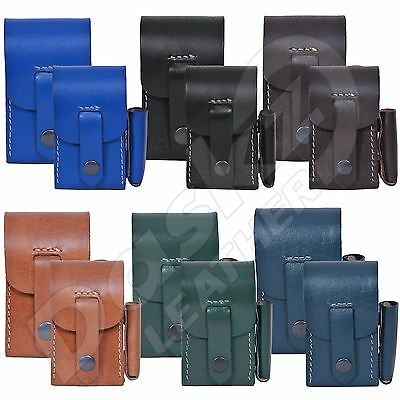 Genuine Leather  Cigarette Cases with  Lighter Holder