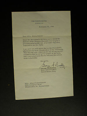 Signed Letter / Envelope White House George Burkley M.d. To Johnson & Kennedy