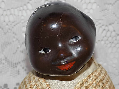 RARE and UNUSUAL Black Brown Old Antique Composition Character Doll Comic