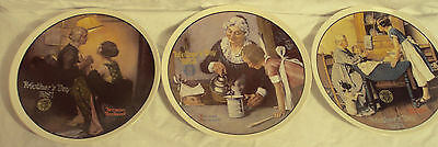 Lot of 3 Norman Rockwell Mothers Day plates 1981 1982 1983 party cooking love