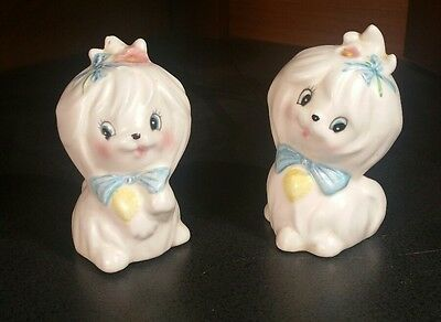 Vtg Maltese Lefton Dog Mr Toodles  Puppies  Japan Salt & Pepper Shakers  3235