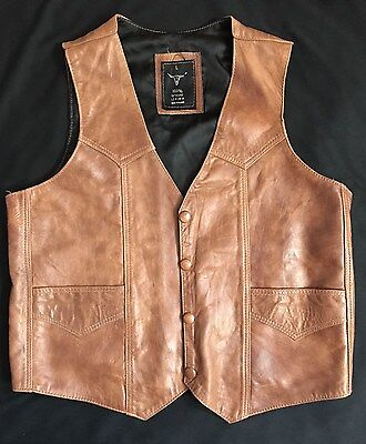 Vtg Men's Leather Vest Lined  Size L Brown Western Cut