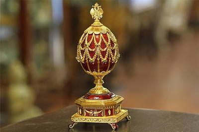 House Of Faberge Imperial Eagle Jeweled Musical Egg 150 Anniversary Sapphire Ss