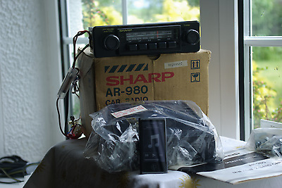 vintage car radio,1970s sharp ar-980 , with input lead for ipod or mp3 player