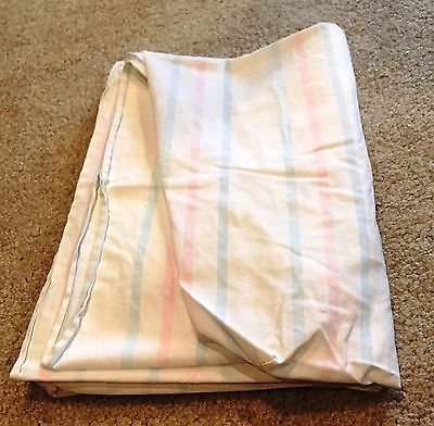 Vintage Fitted Crib Sheet ~ White Cotton with Pink and Blue Stripes