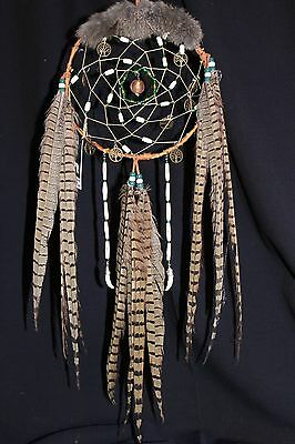 "Handcrafted and Smudged Birch Bark Dream Catcher 8"" X"" 26"" with Glass Ball"