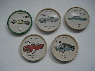 Jell-O Promotion Lot Of 5 Different Plastic Coins Car  Vintage Lot # 17