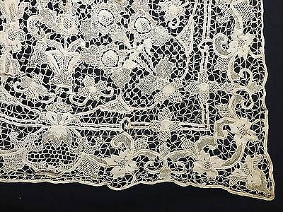 Antique Brussels Belgian Zele Needle Ecru Lace Banquet Tablecloth Napkins Set