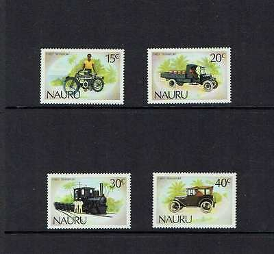 Nauru 1986 Early Transport, cars, motorcycle, trains, MNH set