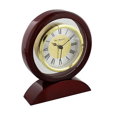 Mahogany Round Wooden Mantel Clock Gold Bezel Chrome Dial