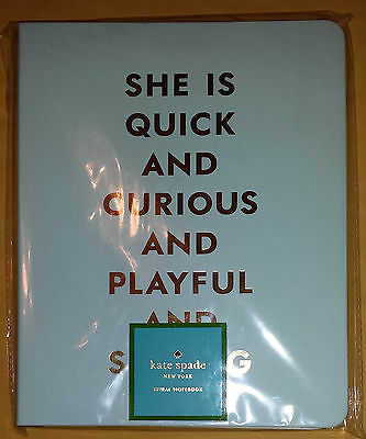 Kate Spade Journal Light Blue She is Quick and Curious and.. Unopened and Sealed