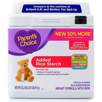 Parent s Choice Added Rice Starch Infant Formula with Iron, 32.2 oz