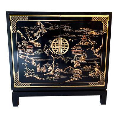 Vintage Drexel, Asian Chippendale Style  Black Lacquer& Gold Small Cabinet/Bar