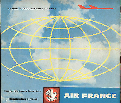 Air France Airlines Route Map 1959 Hemisphere Nord #3