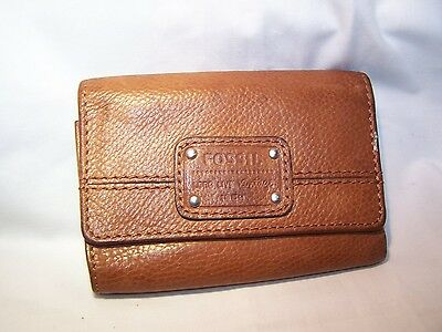 Fossil Brown Leather Trifold Leather Wallet Clutch Purse
