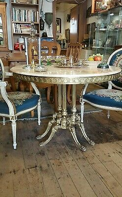 Marble Top Table Brass Coloured Base Antique Style