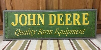 "JOHN DEERE Metal Sign Farm Barn Vintage Style Industrial Tractor 30"" x 9"" Decor"