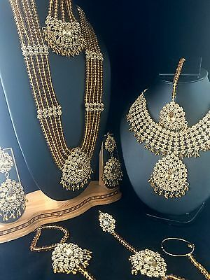 New Indian Bollywood Style Gold Bridal Necklace Choker 7 Piece Set Gold Beads