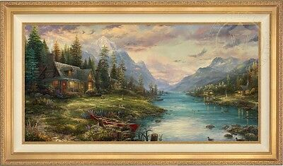 Thomas Kinkade Studios Father's Perfect Day 24 x 48 LE S/N Framed Canvas