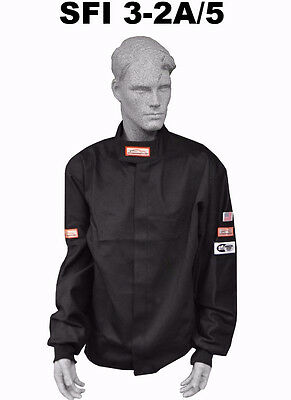 Fire Suit Sfi 5 Racing Jacket 3-2A/5 Rated Black Size Adult 4X Ihra Nhra Adrl