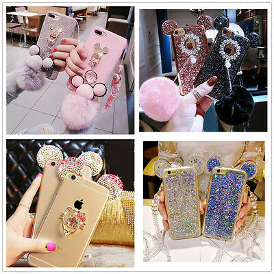 Hot 3D Luxury Diamond Mirror Plush Ball With Case Cover Phone For Apple /Samsung