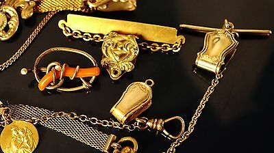 lot of Antique Gold Filled watch chain's part&Accessories different shape