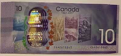 🍁 10 Dollar CDA Prefix New 2017 Canada 150th Commemorative Polymer Banknote UNC