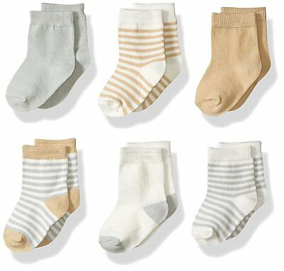 TOUCHED BY NATURE 6 x Organic Cotton Unisex Baby Socks (0-6 Months) BRAND NEW