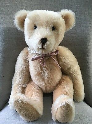 """Large 20"""" Mohair Jointed Tan Bear With Ribbon Vintage Steiff? OOAK?"""