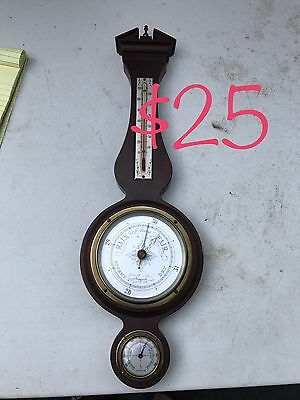 Vintage Airguide Banjo Style Barometer Thermometer Weather Station Solid Wood