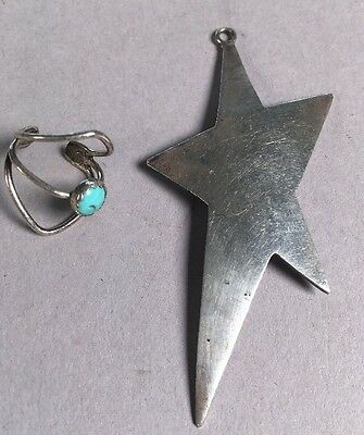 Antique Navajo Native American Indian Star Ring Turquoise Sterling Silver