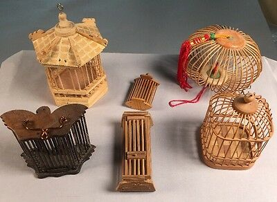 Lot Of 6 Vintage Chinese Bamboo Insect Cricket Cages