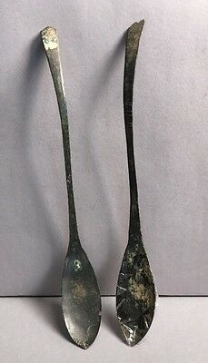 Lot Of 2 Ancient Roman Or Coptic Spoons Bronze