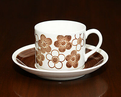 RORSTRAND Anemon Brown Coffee Cup and Saucer Marianne Westman