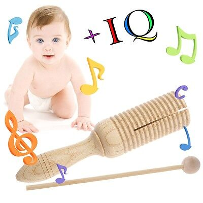 Single Wooden Agogo Guiro Tone Block Percussion with Beater Musical Toy kid Gift
