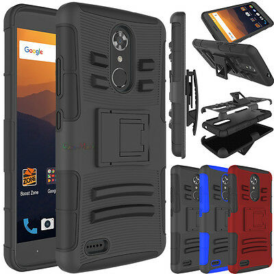 FOR ZTE MAX XL / Blade Max 3 Hybrid Clip Holster Hard TPU Armor Phone Case  Cover